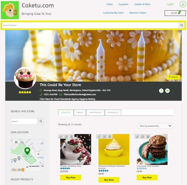 Caketu store page